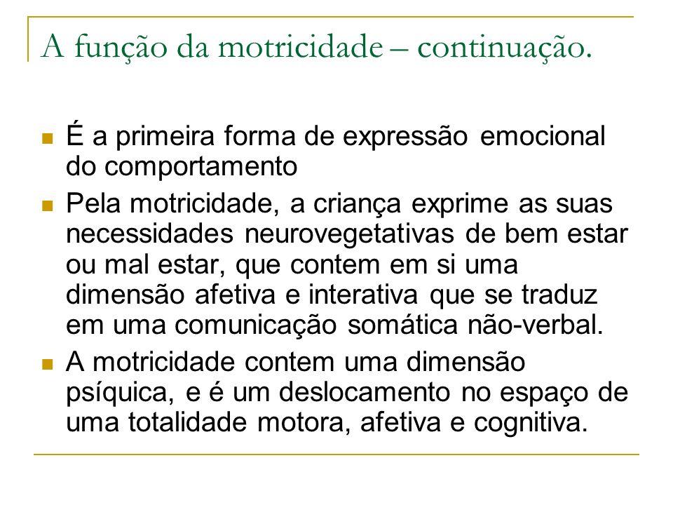 A função da motricidade – continuação.
