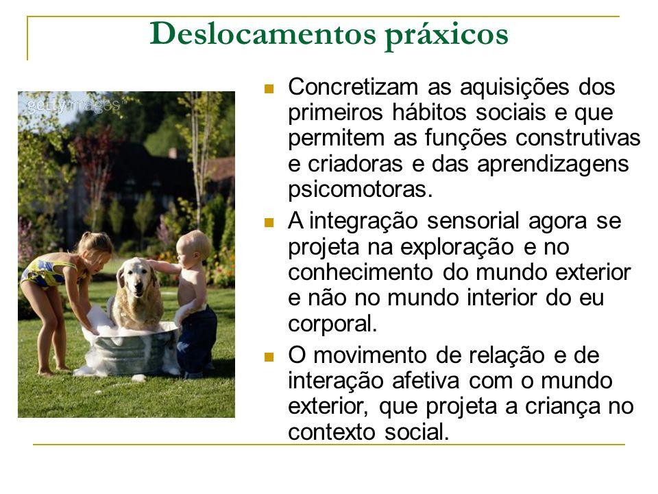 Deslocamentos práxicos Concretizam as aquisições dos primeiros hábitos sociais e que permitem as funções construtivas e criadoras e das aprendizagens psicomotoras.