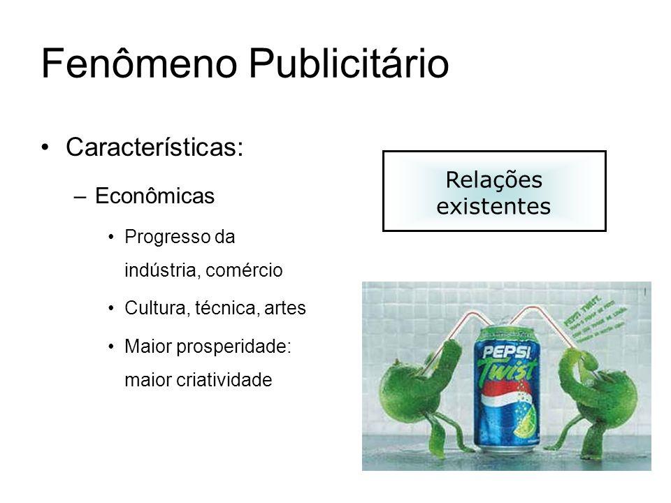 Fenômeno Publicitário Características: –Econômicas Progresso da indústria, comércio Cultura, técnica, artes Maior prosperidade: maior criatividade Rel