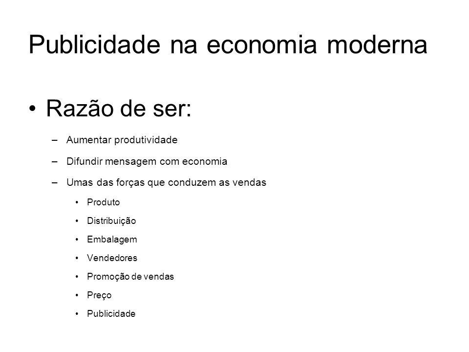 Publicidade na economia moderna Razão de ser: –Aumentar produtividade –Difundir mensagem com economia –Umas das forças que conduzem as vendas Produto