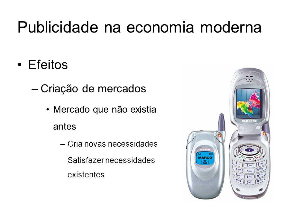 Publicidade na economia moderna Efeitos –Criação de mercados Mercado que não existia antes –Cria novas necessidades –Satisfazer necessidades existente