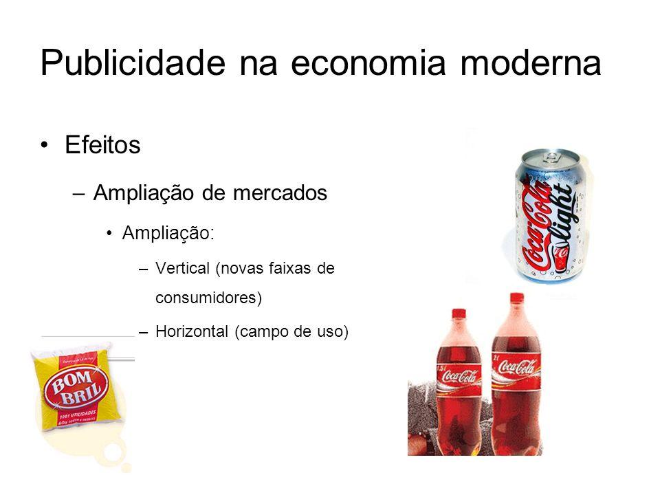 Publicidade na economia moderna Efeitos –Ampliação de mercados Ampliação: –Vertical (novas faixas de consumidores) –Horizontal (campo de uso)