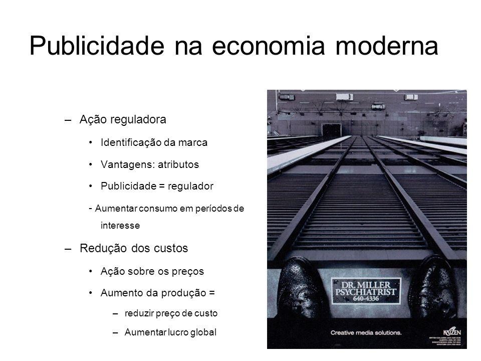 Publicidade na economia moderna –Ação reguladora Identificação da marca Vantagens: atributos Publicidade = regulador - Aumentar consumo em períodos de