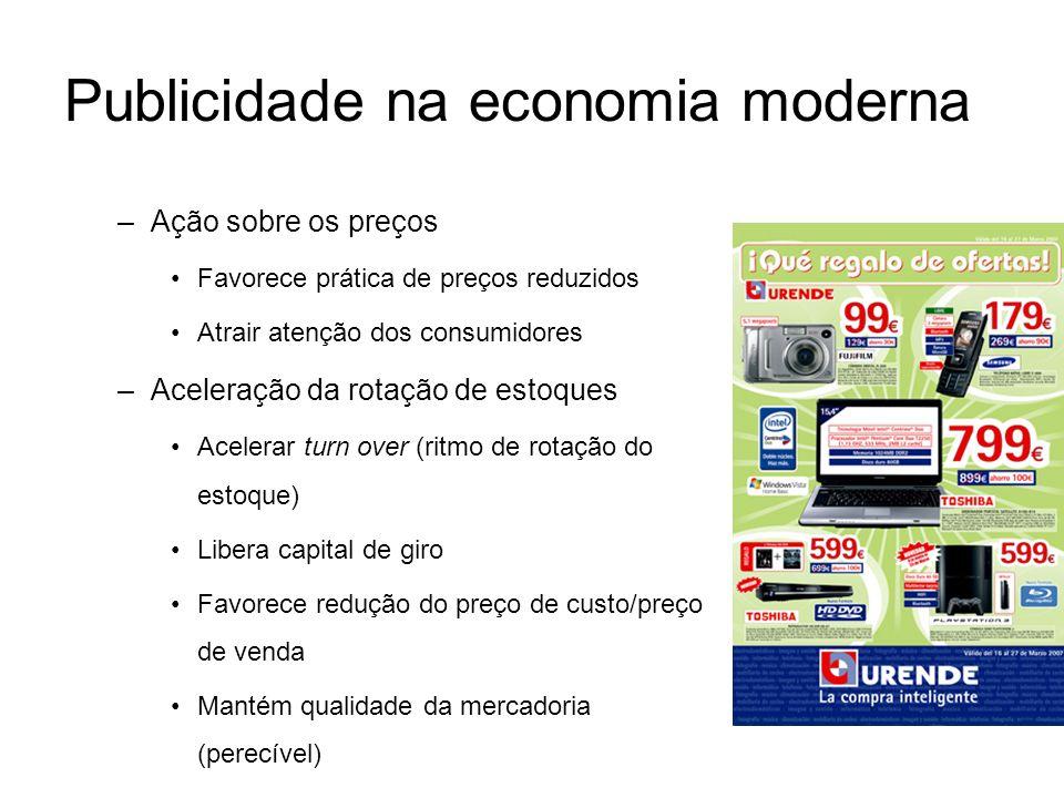Publicidade na economia moderna –Ação sobre os preços Favorece prática de preços reduzidos Atrair atenção dos consumidores –Aceleração da rotação de e