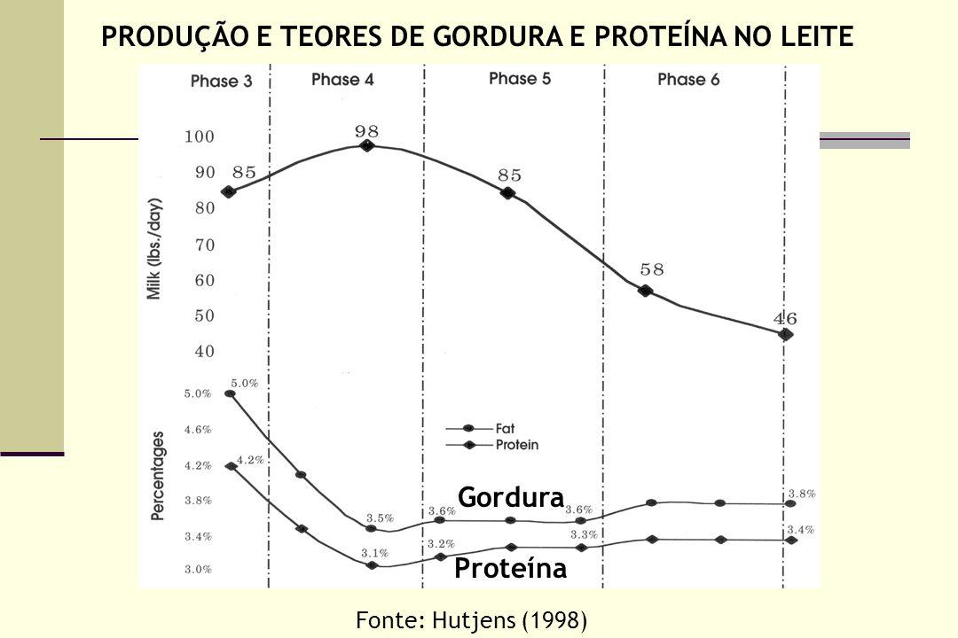 Gordura Proteína Fonte: Hutjens (1998) PRODUÇÃO E TEORES DE GORDURA E PROTEÍNA NO LEITE