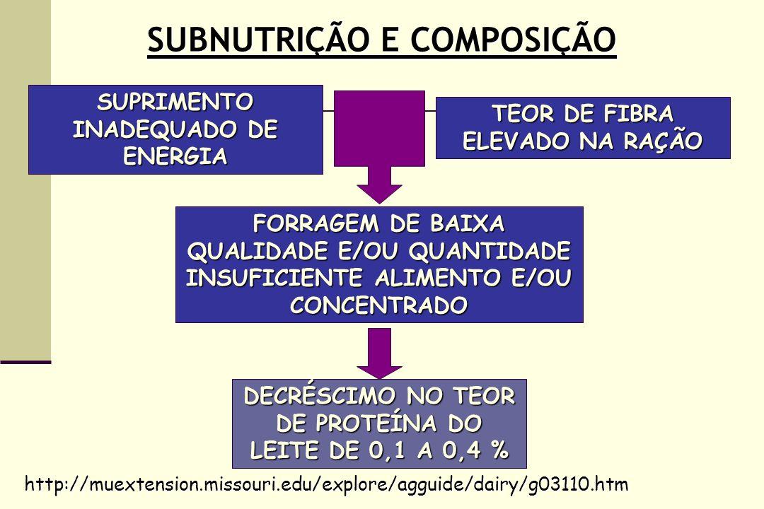 SUBNUTRIÇÃO E COMPOSIÇÃO SUPRIMENTO INADEQUADO DE ENERGIA TEOR DE FIBRA ELEVADO NA RAÇÃO DECRÉSCIMO NO TEOR DE PROTEÍNA DO LEITE DE 0,1 A 0,4 % http://muextension.missouri.edu/explore/agguide/dairy/g03110.htm FORRAGEM DE BAIXA QUALIDADE E/OU QUANTIDADE INSUFICIENTE ALIMENTO E/OU CONCENTRADO