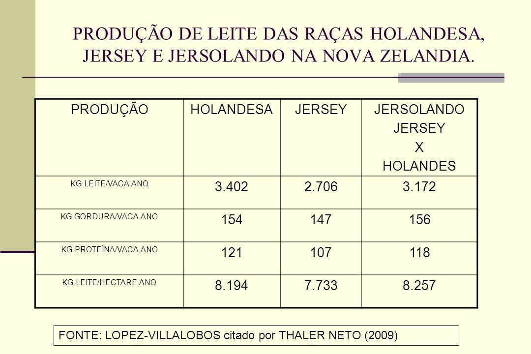 PRODUÇÃO DE LEITE DAS RAÇAS HOLANDESA, JERSEY E JERSOLANDO NA NOVA ZELANDIA. PRODUÇÃOHOLANDESAJERSEYJERSOLANDO JERSEY X HOLANDES KG LEITE/VACA.ANO 3.4