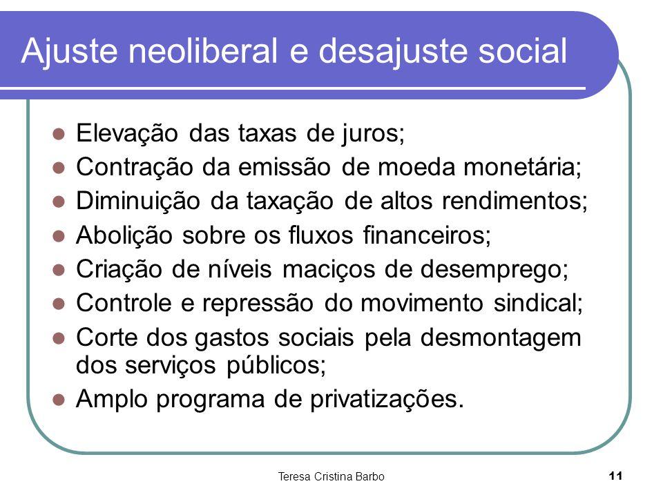 Teresa Cristina Barbo11 Ajuste neoliberal e desajuste social Elevação das taxas de juros; Contração da emissão de moeda monetária; Diminuição da taxaç