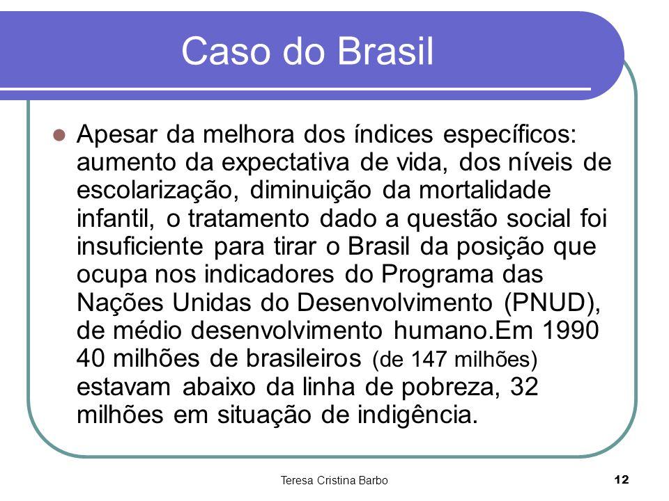 Teresa Cristina Barbo12 Caso do Brasil Apesar da melhora dos índices específicos: aumento da expectativa de vida, dos níveis de escolarização, diminui