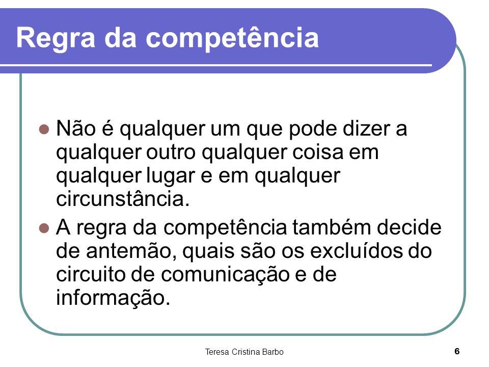 Teresa Cristina Barbo6 Regra da competência Não é qualquer um que pode dizer a qualquer outro qualquer coisa em qualquer lugar e em qualquer circunstâ