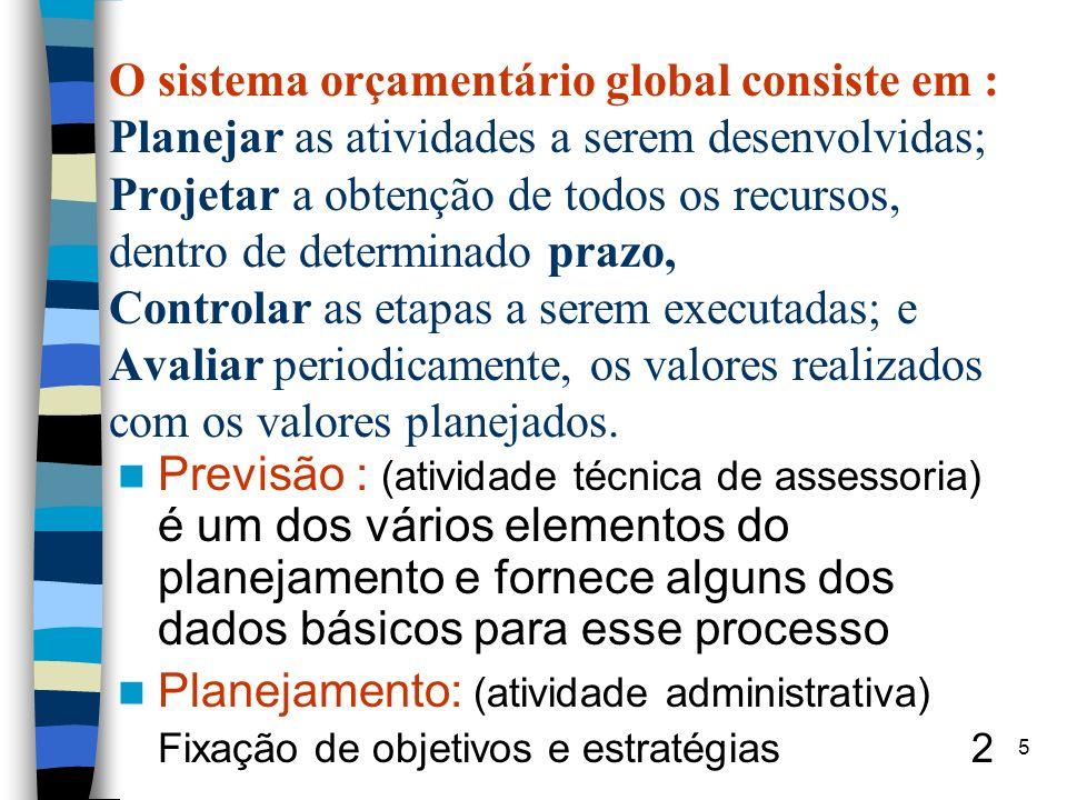 O sistema orçamentário global consiste em : Planejar as atividades a serem desenvolvidas; Projetar a obtenção de todos os recursos, dentro de determin