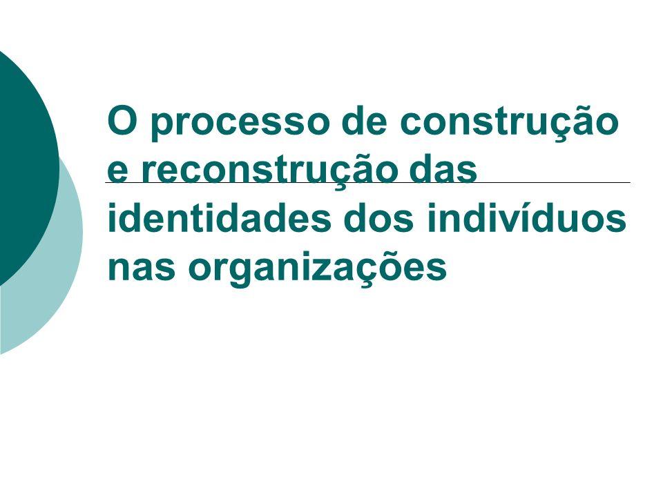 Identidade dos Indivíduos nas Organizações As identidades dos indivíduos nas organizações são construídas a partir da interação humana, ao se compartilhar objetivos, regras e valores, entre outros, exercendo uma influência considerável sobre a motivação dos trabalhadores, assim como sua satisfação e produtividade.