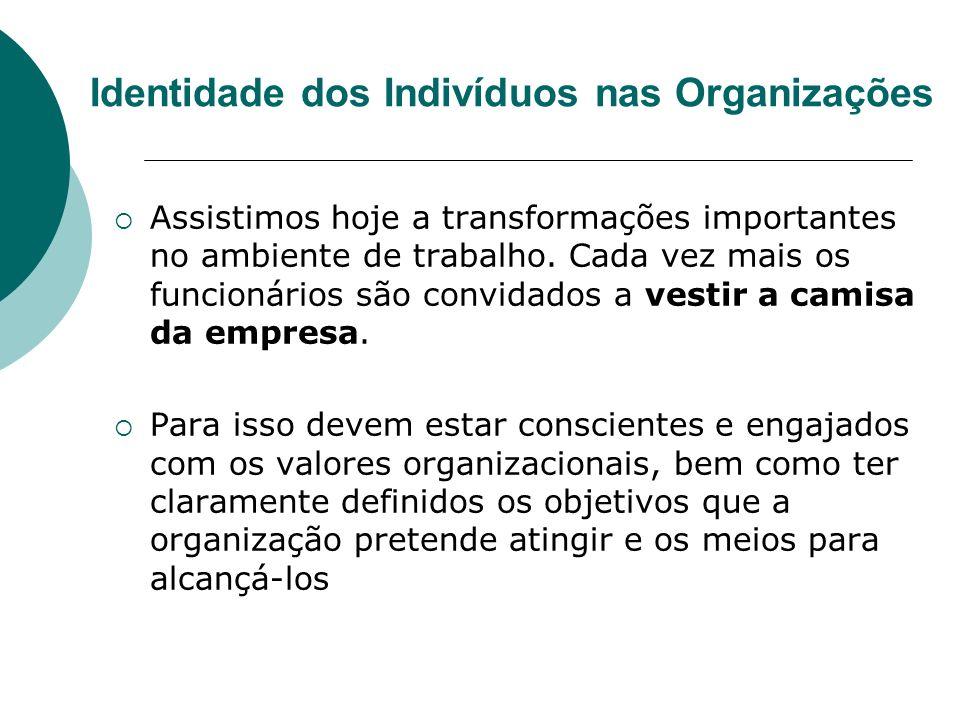 Identidade dos Indivíduos nas Organizações É muito comum se afirmar que a principal responsabilidade dos gerentes é a de motivar seu pessoal; para isso é feito um trabalho de conscientização, que se inicia no momento de inserção do empregado no ambiente organizacional.