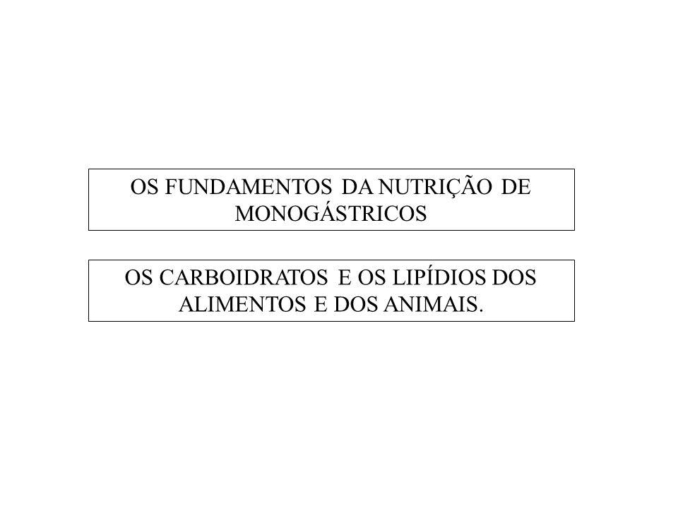 OS FUNDAMENTOS DA NUTRIÇÃO DE MONOGÁSTRICOS OS CARBOIDRATOS E OS LIPÍDIOS DOS ALIMENTOS E DOS ANIMAIS.