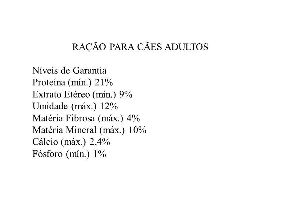 Níveis de Garantia Proteína (mín.) 21% Extrato Etéreo (mín.) 9% Umidade (máx.) 12% Matéria Fibrosa (máx.) 4% Matéria Mineral (máx.) 10% Cálcio (máx.)