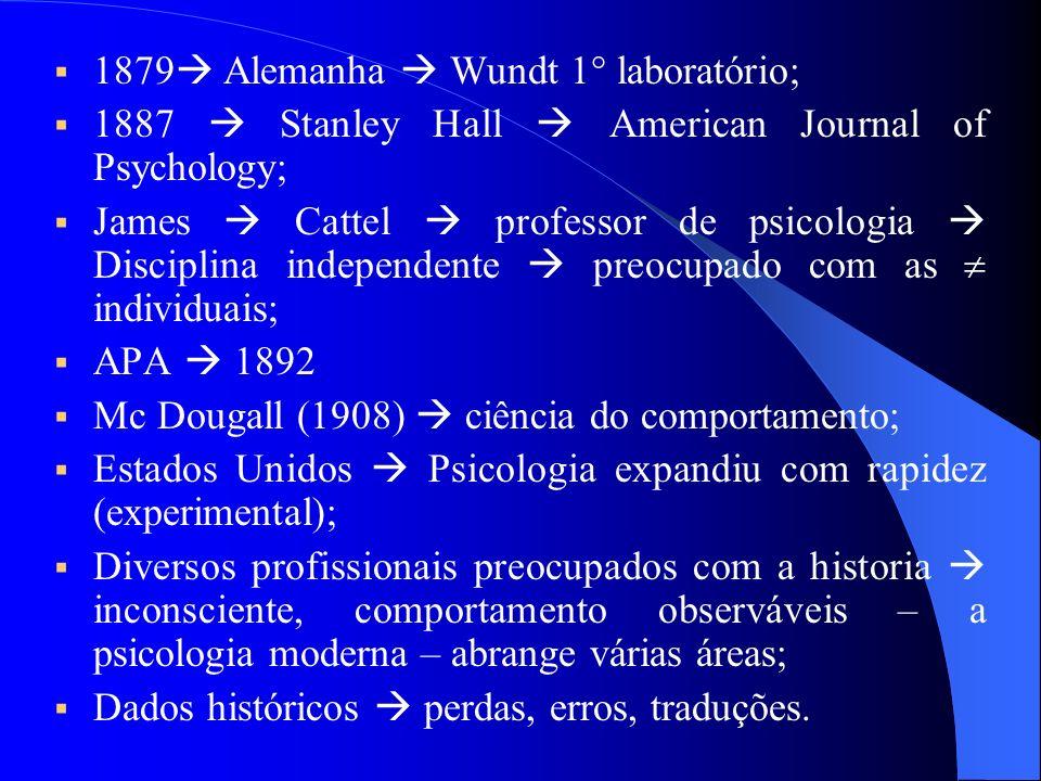 Contexto Contexto XX Psicologia americana economicamente passou da pesquisa básica para a aplicação de técnicas psicológicas; Guerras aceleram o desenvolvimento da psicologia aplicadas seleção de pessoal, testes; Guerras Europa Alemanha (experimental) Áustria (psicanálise) estudiosos fugiram dos nazistas; Século XIX – Alemanha Wundt determinou o objeto de estudo; Wundt (1832-1920) utiliza a introspecção (Sócrates) – controle experimental órgãos do sentindo;
