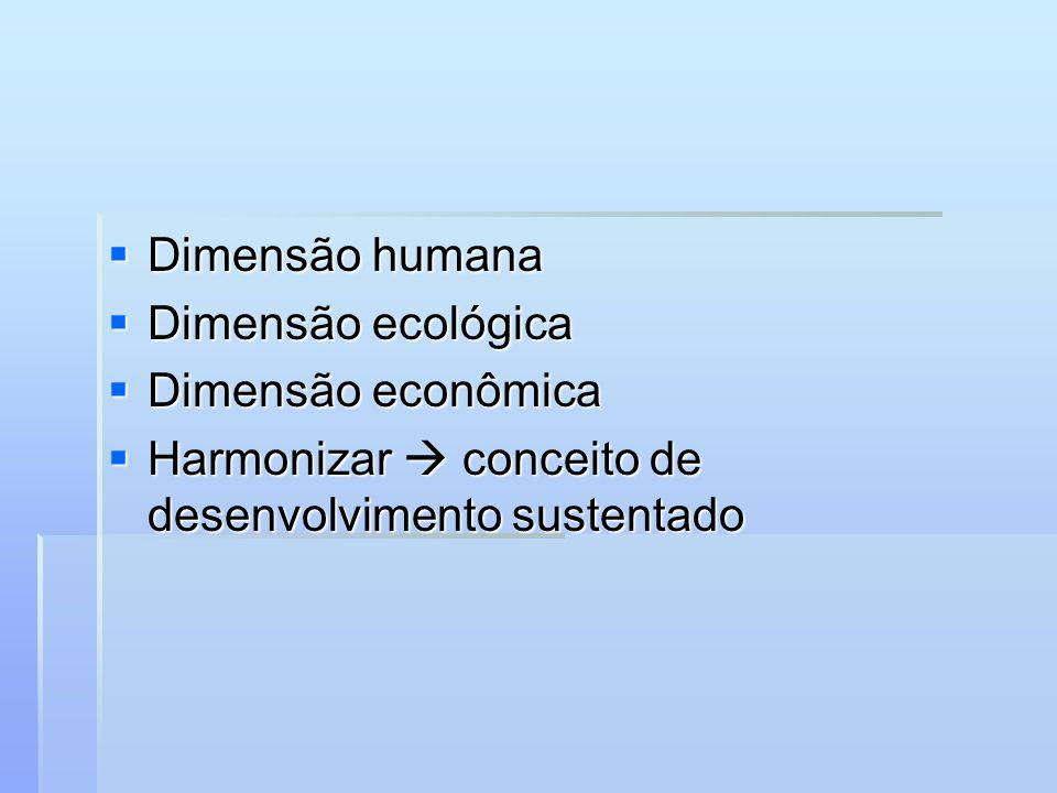 Dimensão humana Dimensão humana Dimensão ecológica Dimensão ecológica Dimensão econômica Dimensão econômica Harmonizar conceito de desenvolvimento sus