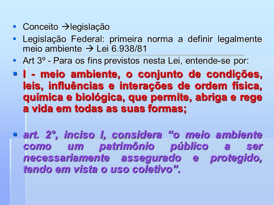 Conceito legislação Conceito legislação Legislação Federal: primeira norma a definir legalmente meio ambiente Lei 6.938/81 Legislação Federal: primeir