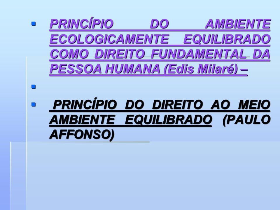 PRINCÍPIO DO AMBIENTE ECOLOGICAMENTE EQUILIBRADO COMO DIREITO FUNDAMENTAL DA PESSOA HUMANA (Edis Milaré) – PRINCÍPIO DO AMBIENTE ECOLOGICAMENTE EQUILI