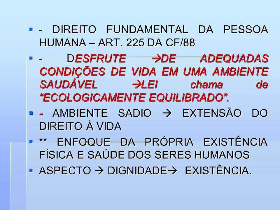 - DIREITO FUNDAMENTAL DA PESSOA HUMANA – ART. 225 DA CF/88 - DIREITO FUNDAMENTAL DA PESSOA HUMANA – ART. 225 DA CF/88 - DESFRUTE DE ADEQUADAS CONDIÇÕE