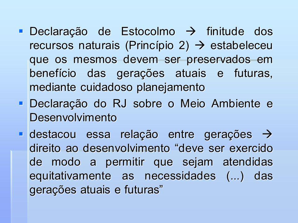 Declaração de Estocolmo finitude dos recursos naturais (Princípio 2) estabeleceu que os mesmos devem ser preservados em benefício das gerações atuais
