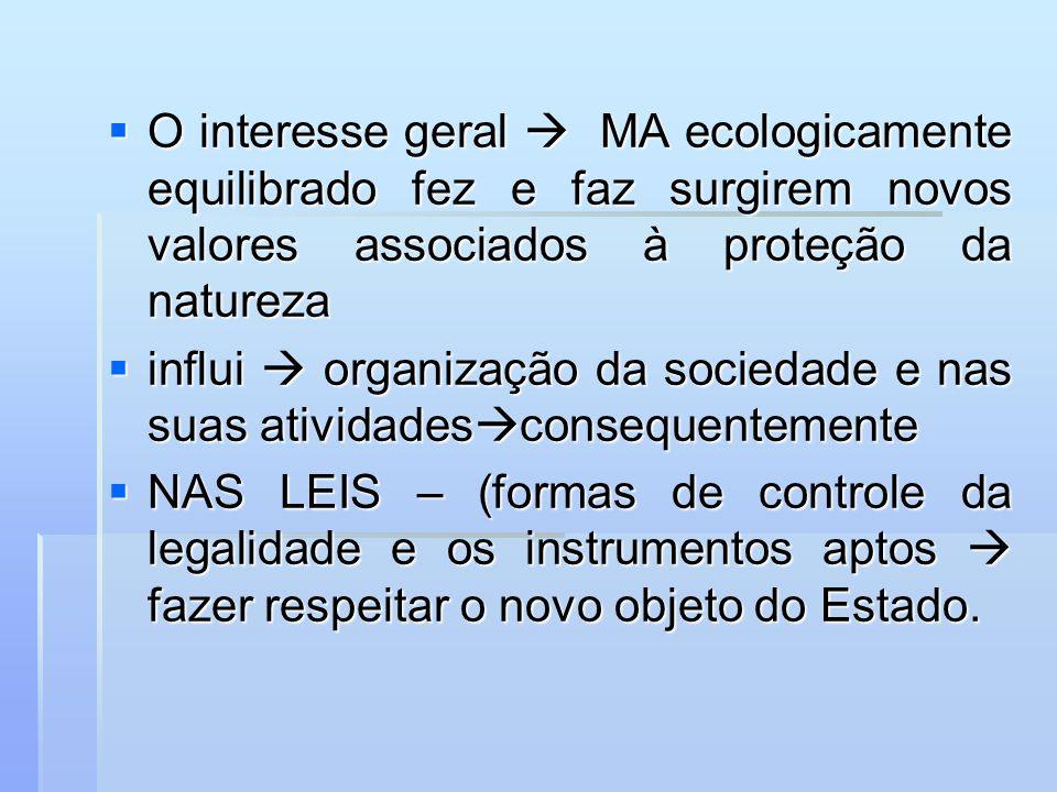 O interesse geral MA ecologicamente equilibrado fez e faz surgirem novos valores associados à proteção da natureza O interesse geral MA ecologicamente