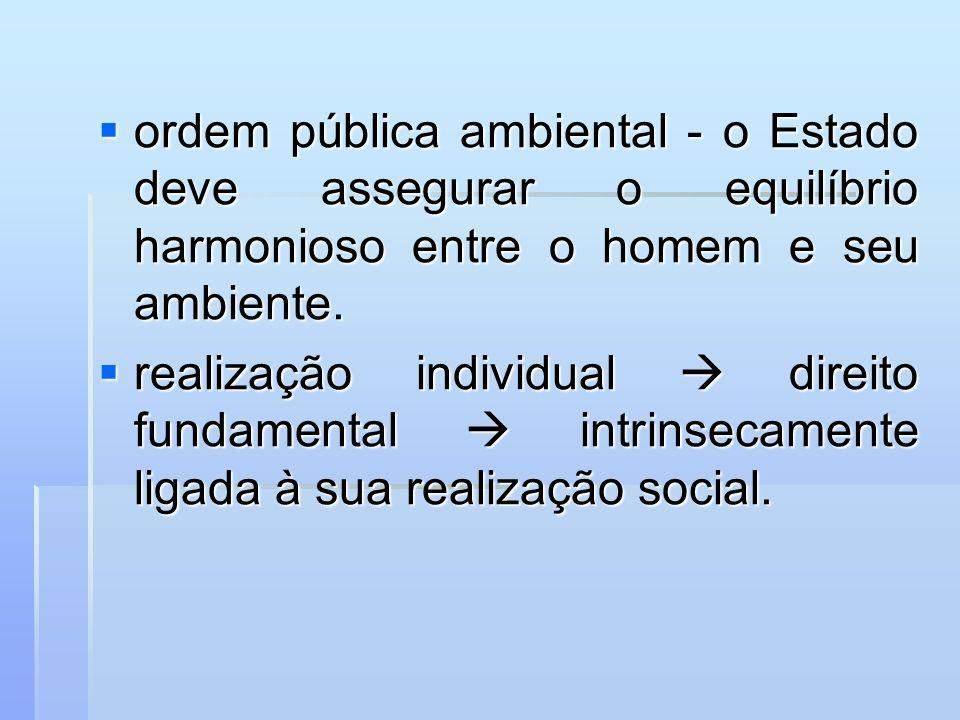 ordem pública ambiental - o Estado deve assegurar o equilíbrio harmonioso entre o homem e seu ambiente. ordem pública ambiental - o Estado deve assegu