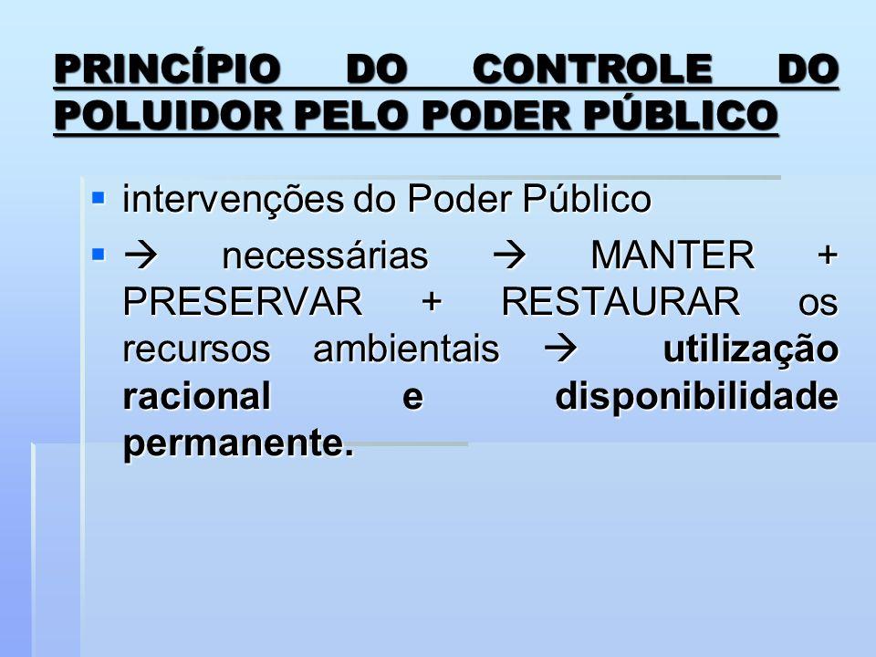 PRINCÍPIO DO CONTROLE DO POLUIDOR PELO PODER PÚBLICO intervenções do Poder Público intervenções do Poder Público necessárias MANTER + PRESERVAR + REST
