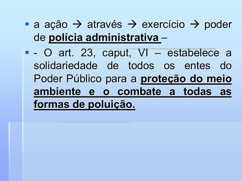 a ação através exercício poder de polícia administrativa – a ação através exercício poder de polícia administrativa – - O art. 23, caput, VI – estabel