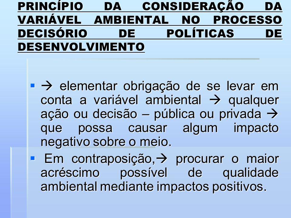 PRINCÍPIO DA CONSIDERAÇÃO DA VARIÁVEL AMBIENTAL NO PROCESSO DECISÓRIO DE POLÍTICAS DE DESENVOLVIMENTO elementar obrigação de se levar em conta a variá