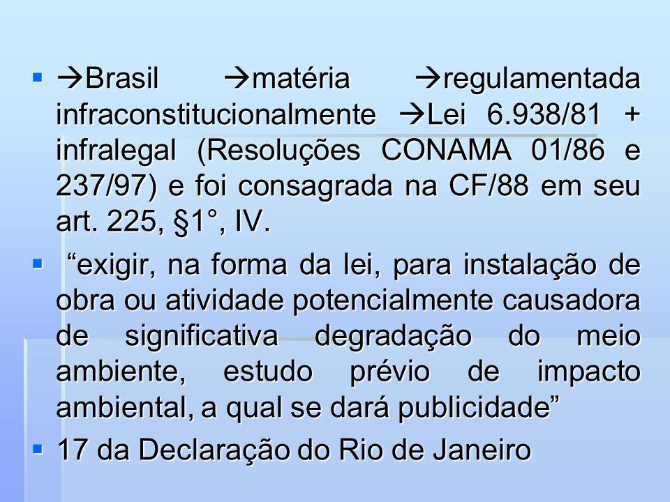 Brasil matéria regulamentada infraconstitucionalmente Lei 6.938/81 + infralegal (Resoluções CONAMA 01/86 e 237/97) e foi consagrada na CF/88 em seu ar