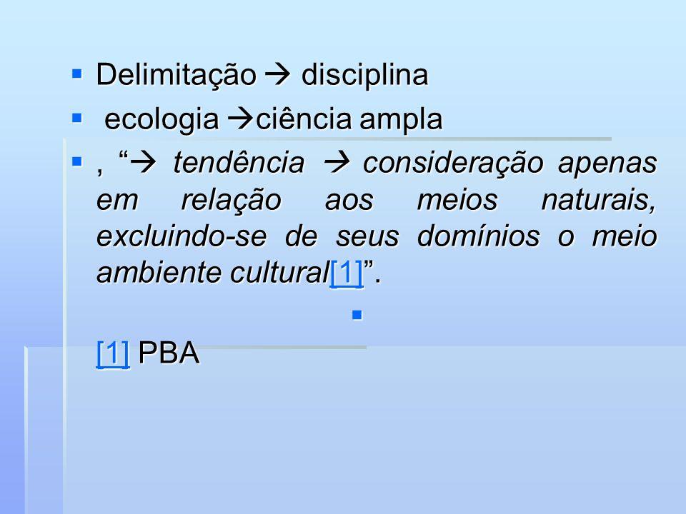 Delimitação disciplina Delimitação disciplina ecologia ciência ampla ecologia ciência ampla, tendência consideração apenas em relação aos meios natura