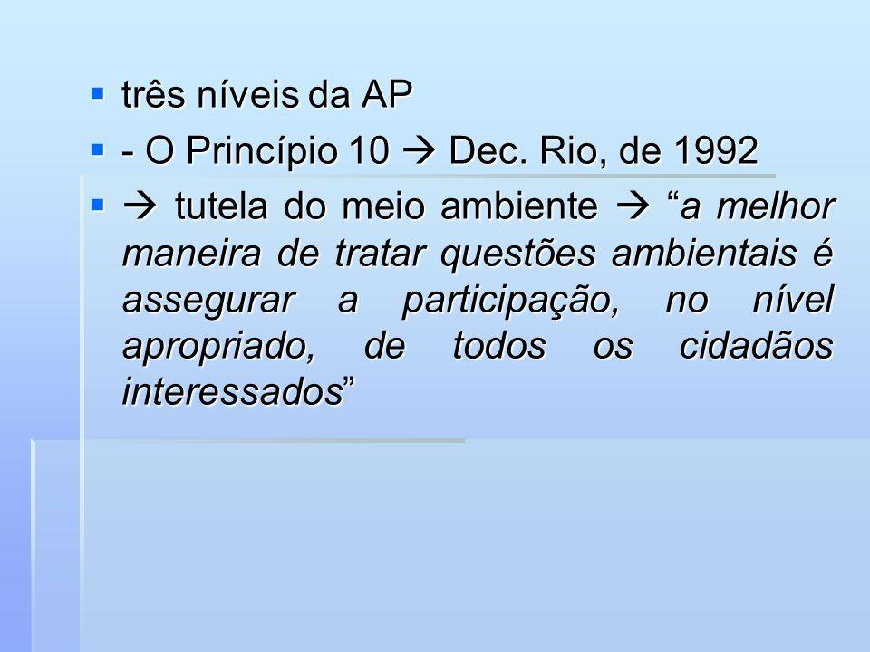 três níveis da AP três níveis da AP - O Princípio 10 Dec. Rio, de 1992 - O Princípio 10 Dec. Rio, de 1992 tutela do meio ambiente a melhor maneira de