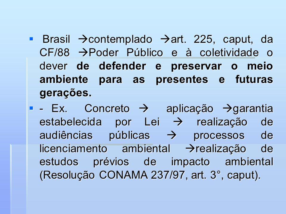 Brasil contemplado art. 225, caput, da CF/88 Poder Público e à coletividade o dever de defender e preservar o meio ambiente para as presentes e futura