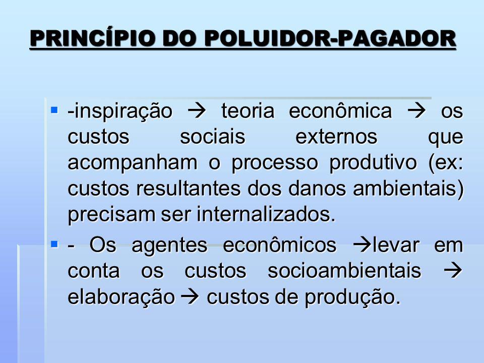 PRINCÍPIO DO POLUIDOR-PAGADOR -inspiração teoria econômica os custos sociais externos que acompanham o processo produtivo (ex: custos resultantes dos