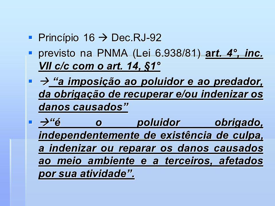 Princípio 16 Dec.RJ-92 Princípio 16 Dec.RJ-92 previsto na PNMA (Lei 6.938/81) art. 4°, inc. VII c/c com o art. 14, §1° previsto na PNMA (Lei 6.938/81)