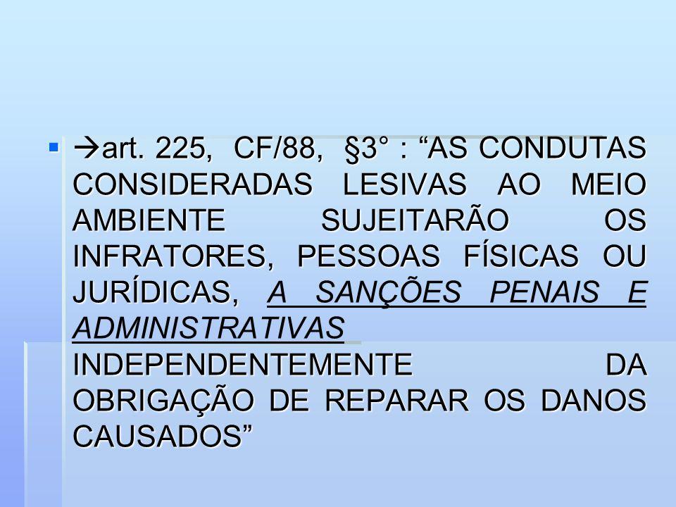 art. 225, CF/88, §3° : AS CONDUTAS CONSIDERADAS LESIVAS AO MEIO AMBIENTE SUJEITARÃO OS INFRATORES, PESSOAS FÍSICAS OU JURÍDICAS, INDEPENDENTEMENTE DA