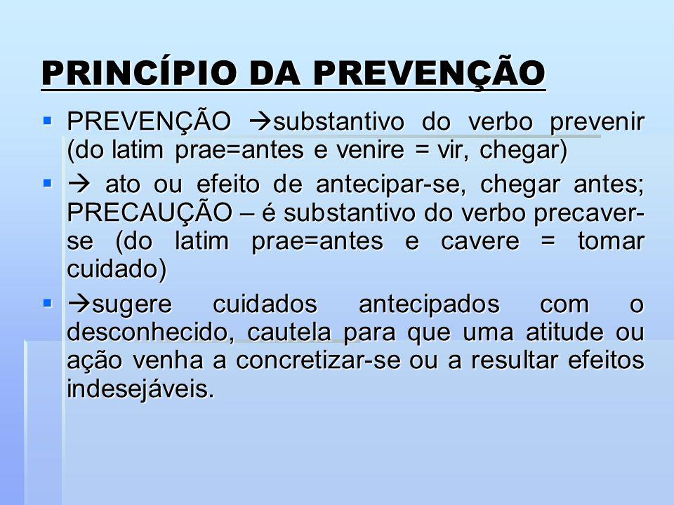 PRINCÍPIO DA PREVENÇÃO PREVENÇÃO substantivo do verbo prevenir (do latim prae=antes e venire = vir, chegar) PREVENÇÃO substantivo do verbo prevenir (d