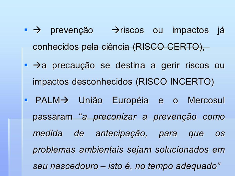 prevenção riscos ou impactos já conhecidos pela ciência (RISCO CERTO), prevenção riscos ou impactos já conhecidos pela ciência (RISCO CERTO), a precau
