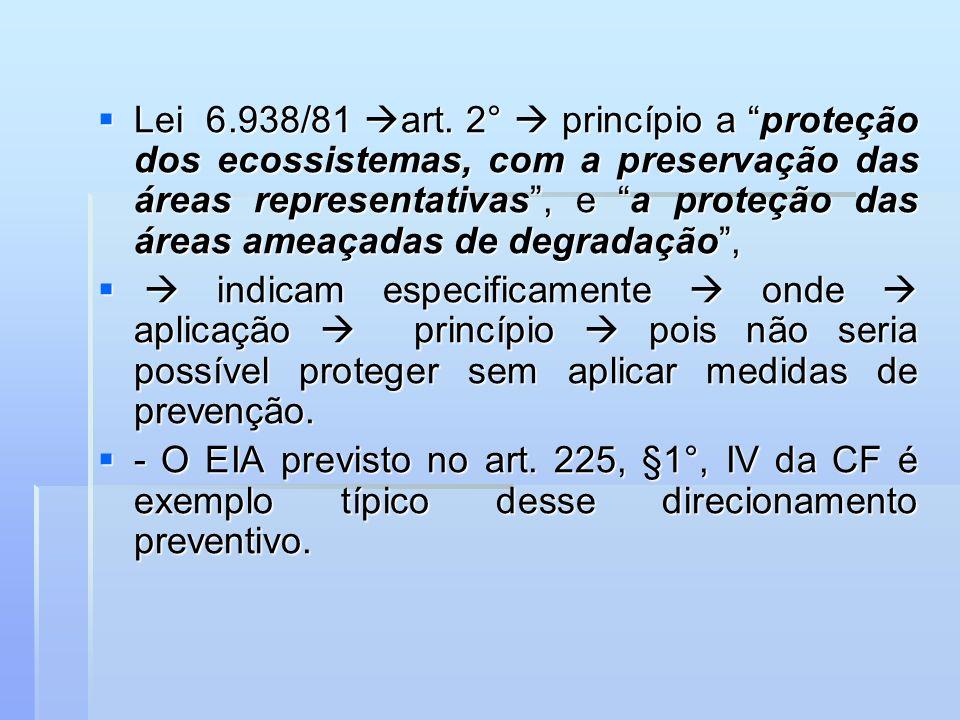 Lei 6.938/81 art. 2° princípio a proteção dos ecossistemas, com a preservação das áreas representativas, e a proteção das áreas ameaçadas de degradaçã