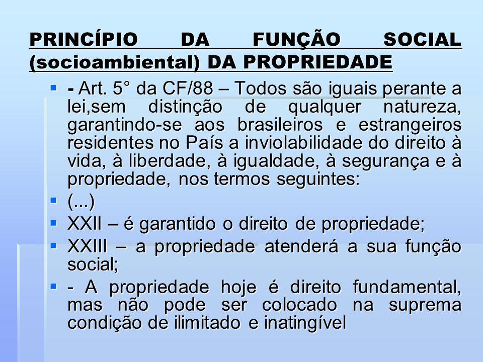 PRINCÍPIO DA FUNÇÃO SOCIAL (socioambiental) DA PROPRIEDADE - Art. 5° da CF/88 – Todos são iguais perante a lei,sem distinção de qualquer natureza, gar