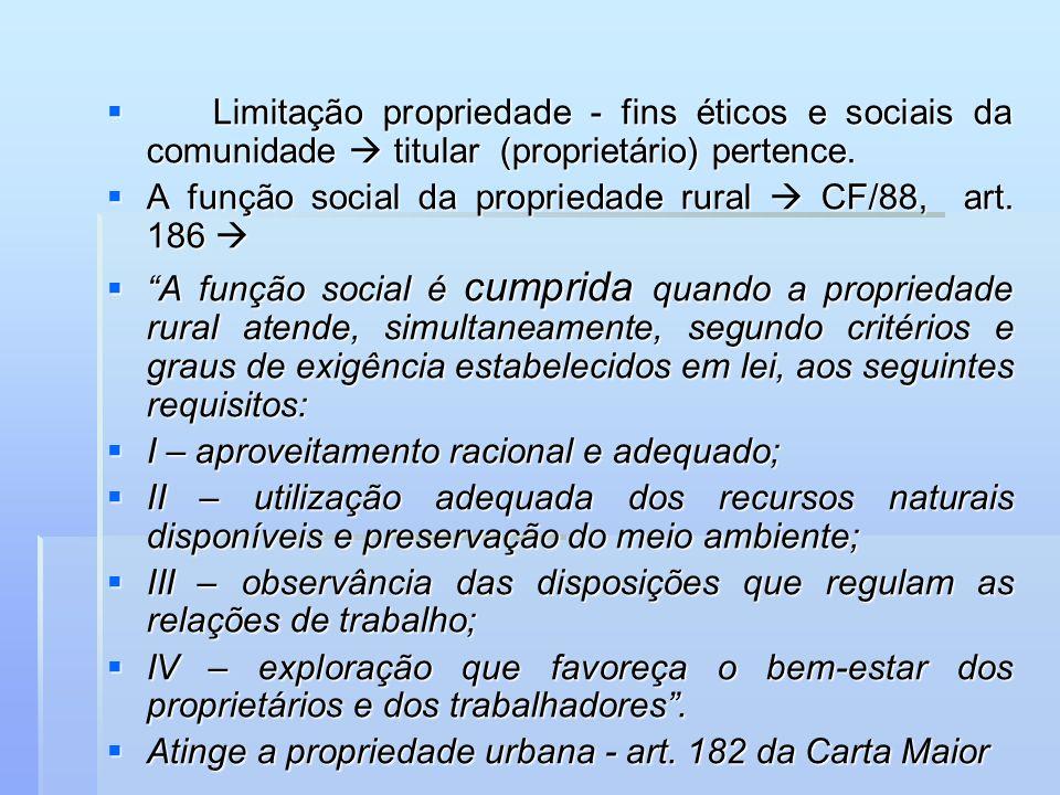 Limitação propriedade - fins éticos e sociais da comunidade titular (proprietário) pertence. Limitação propriedade - fins éticos e sociais da comunida