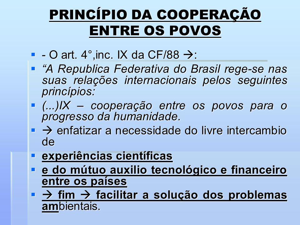 PRINCÍPIO DA COOPERAÇÃO ENTRE OS POVOS - O art. 4°,inc. IX da CF/88 : - O art. 4°,inc. IX da CF/88 : A Republica Federativa do Brasil rege-se nas suas
