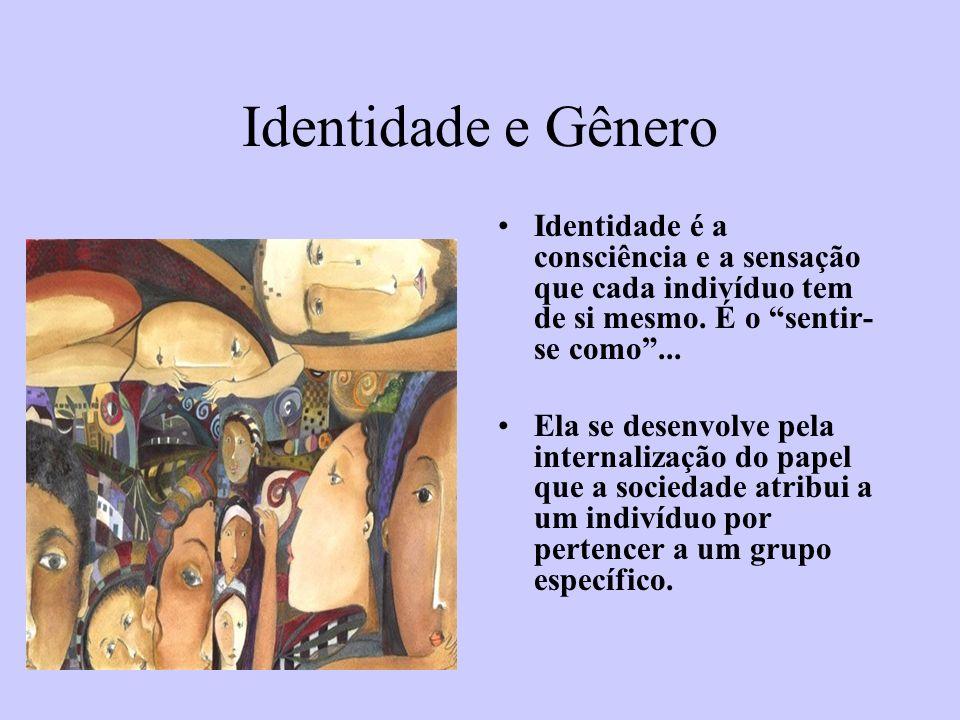 Identidade e Gênero Identidade é a consciência e a sensação que cada indivíduo tem de si mesmo. É o sentir- se como... Ela se desenvolve pela internal