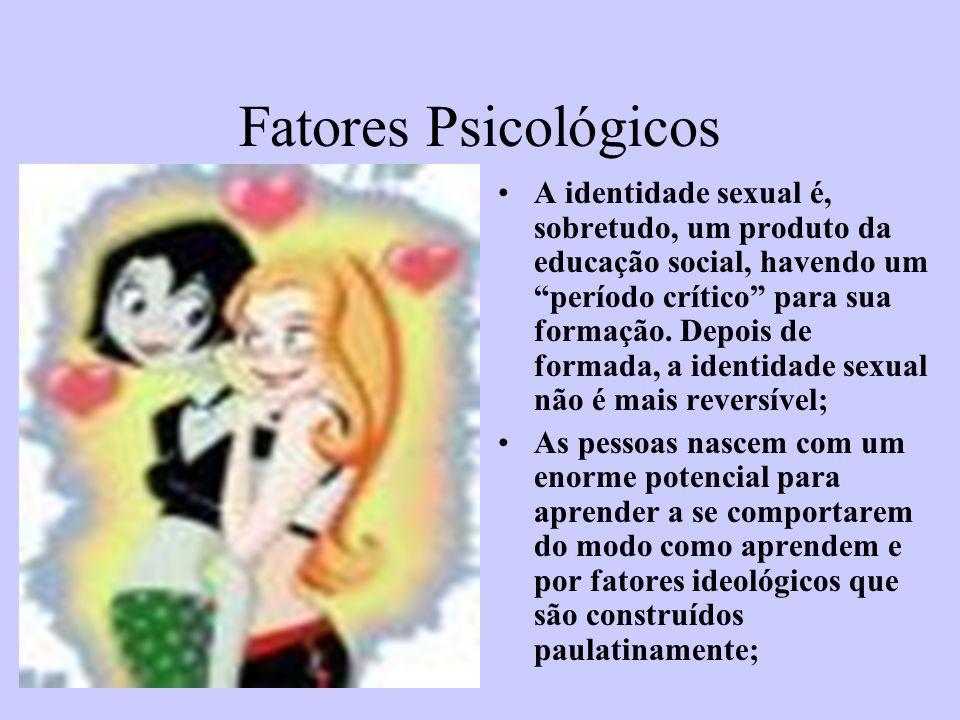 Fatores Psicológicos A identidade sexual é, sobretudo, um produto da educação social, havendo um período crítico para sua formação. Depois de formada,
