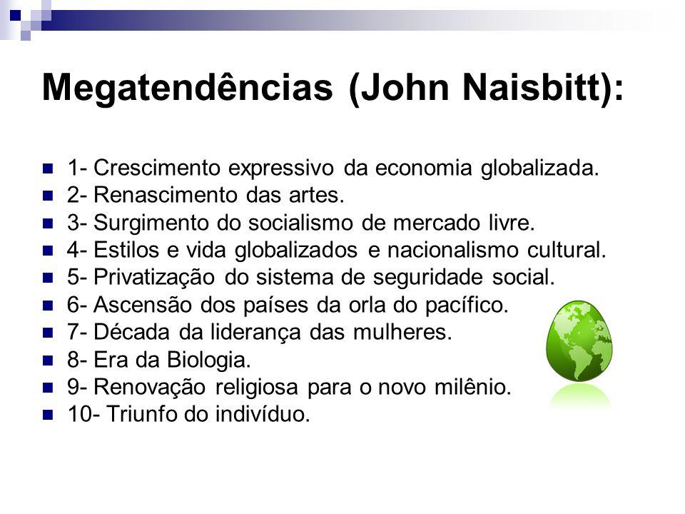 Megatendências (John Naisbitt): 1- Crescimento expressivo da economia globalizada. 2- Renascimento das artes. 3- Surgimento do socialismo de mercado l
