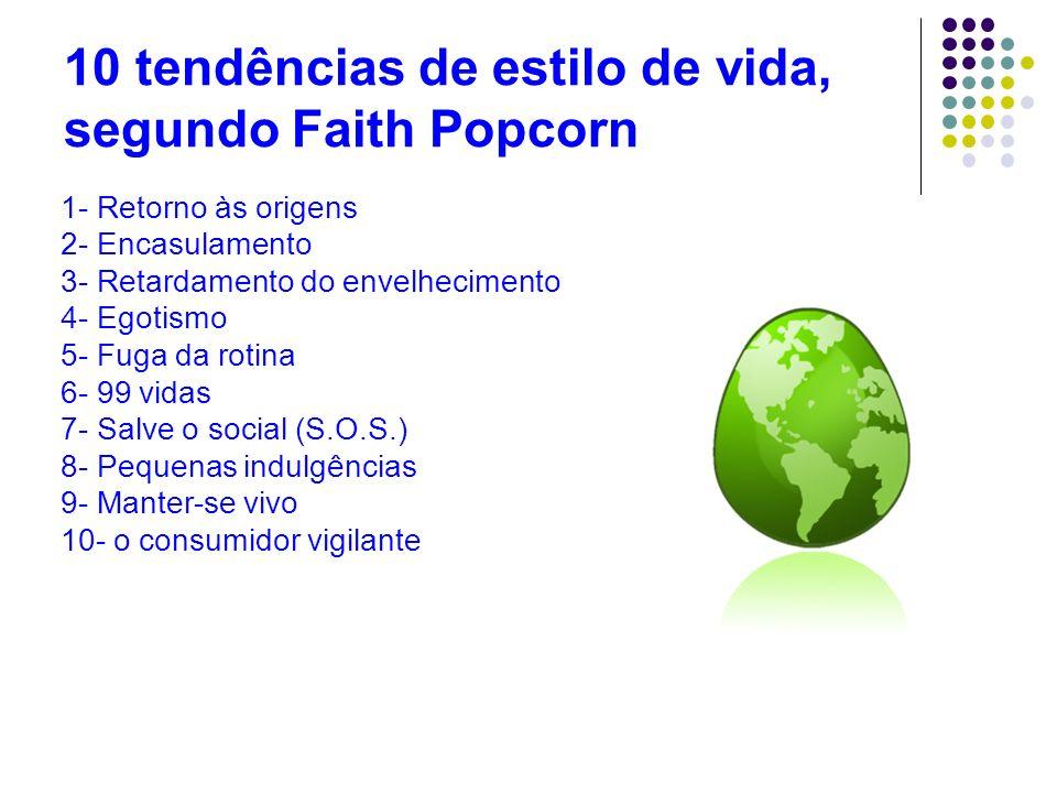 10 tendências de estilo de vida, segundo Faith Popcorn 1- Retorno às origens 2- Encasulamento 3- Retardamento do envelhecimento 4- Egotismo 5- Fuga da