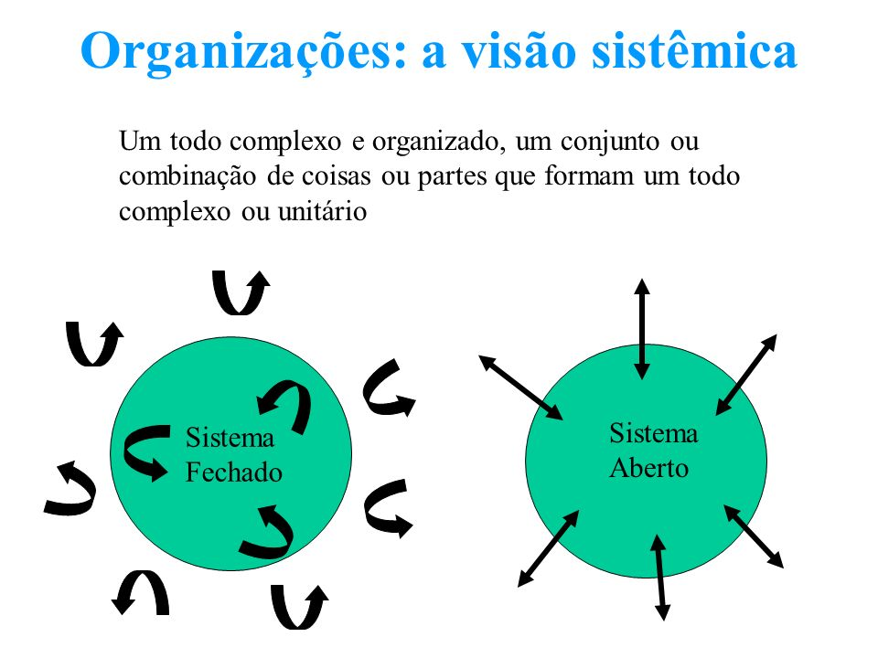 Organizações: a visão sistêmica Um todo complexo e organizado, um conjunto ou combinação de coisas ou partes que formam um todo complexo ou unitário S