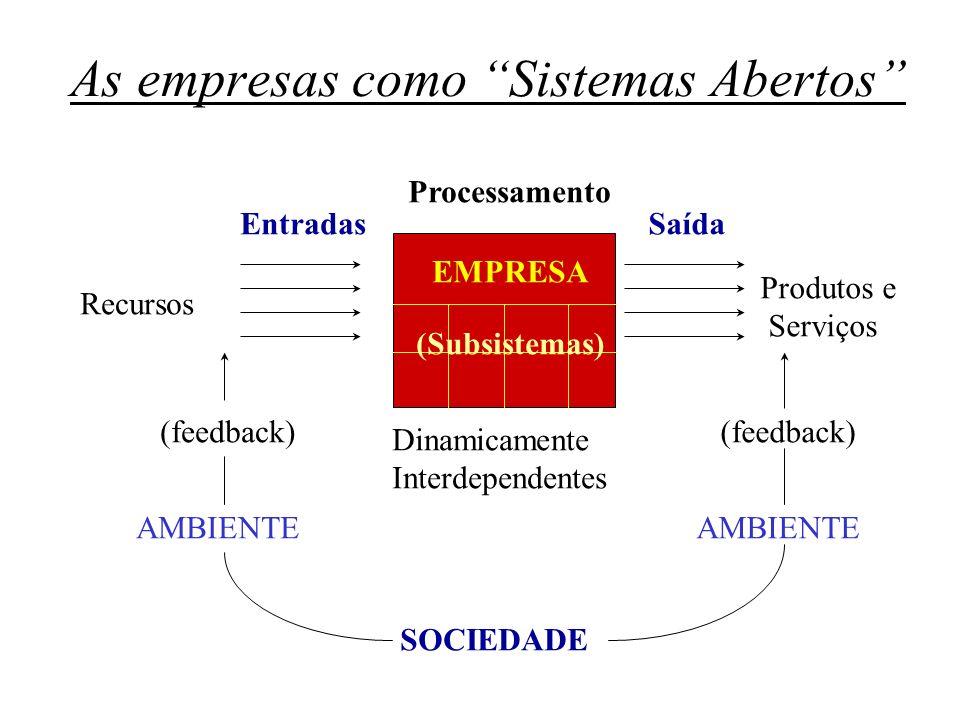 As empresas como Sistemas Abertos Recursos Entradas Processamento Saída Produtos e Serviços EMPRESA (Subsistemas) AMBIENTE Dinamicamente Interdependen