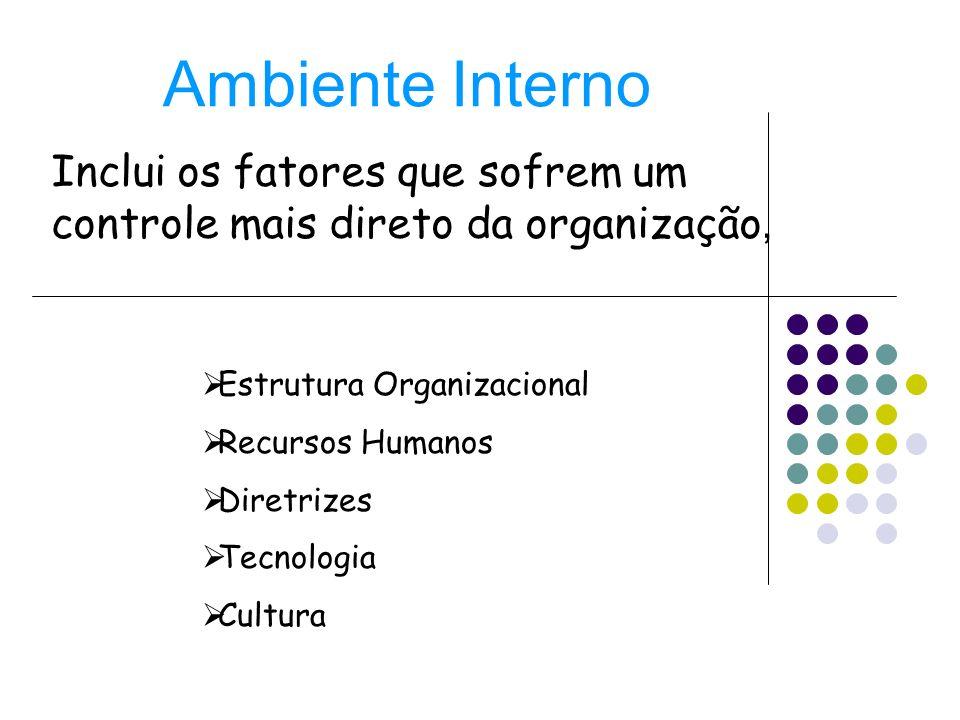 Ambiente Interno Inclui os fatores que sofrem um controle mais direto da organização, Estrutura Organizacional Recursos Humanos Diretrizes Tecnologia